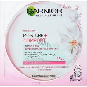 Garnier Moisture + Comfort superhydratační upokojujúce textilné pleťová maska 15 minútová 32 g