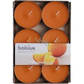 Bolsius Aromatic Maxi Juicy Orange - Pomaranč vonné čajové sviečky 6 kusov, doba horenia 8 hodín