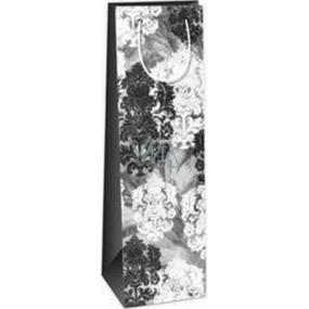 Ditipo Darčeková papierová taška na fľašu 12,3 x 7,8 x 36,2 cm šedo, čierno, biela ST