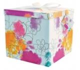 Dárková krabička skládací s mašlí Barevné květy L 22 x 22 x 13 cm