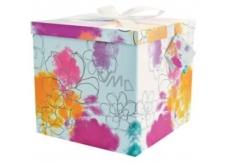 Anjel Darčeková krabička skladacia s mašľou Farebné kvety 22 x 22 x 13 cm