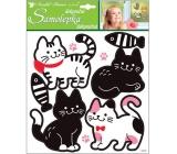 Samolepky mačky čiernobiele 32 x 26 cm