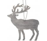 Jeleň drevený na zavesenie 10 cm, šedá