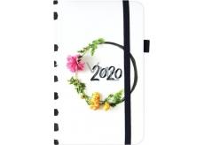 Albi Diár 2020 vreckový s gumičkou Kvetinový veniec 15 x 9,5 x 1,3 cm