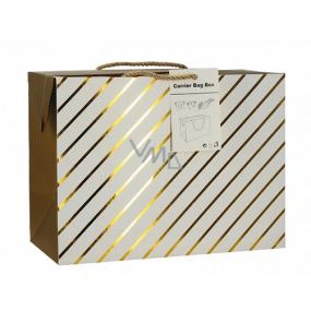 Anjel Darčeková papierová taška krabica 18 x 12 x 9 cm uzatvárateľné, so zlatými prúžkami