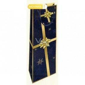 Nekupto Darčeková papierová taška na fľašu 33 x 10 x 9 cm tmavo modrá so zlatou stuhou Vianočné WLH