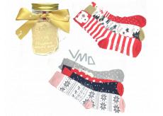 Epee Vianočné ponožky v sklenenej fľaši s uchom pre ženy mix motívov 1 pár, darčekové balenie