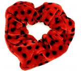 Bartoň Gumička zamatová strednej červená s čiernymi bodkami 3,5 x 9 cm