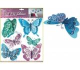 Samolepky na stenu Motýle modrofialoví s hologramom 30,5x30,5cm 695 7003