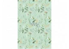 Ditipo Darčekový baliaci papier 70 x 100 cm Zelený mentolový s kvetinami 2 archy