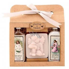 Bohemia Gifts & Cosmetics Vianoce sprchový gél 100 ml + Anjel ručne vyrábané mydlo 80 g + Šípek a Ruže olejový kúpeľ 100 ml