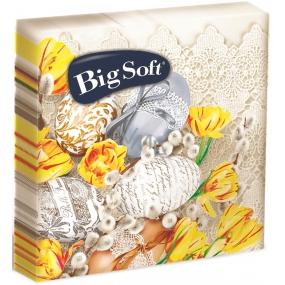 Big Soft Veľkonočné papierové obrúsky béžová vajíčka a žlté kvety 33 x 33 cm 2 vrstvové 20 kusov
