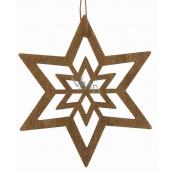 Hviezda drevená tmavo hnedá na zavesenie 10 cm