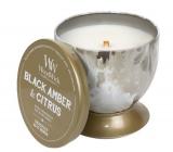 Woodwick Black Amber & Citrus - Čierna ambra a citrus Artisan vonná sviečka s dreveným knôtom a viečkom plechovej dóze 240,9 g