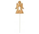 Anjel drevený hnedý zápich 8 cm + drôtik