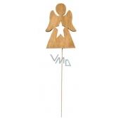 Drevený anjel hnedý 8 cm + drôtik