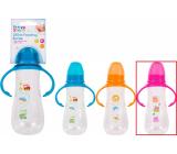 First Steps Feeding Bottle 0+ dojčenská fľaša číra s úchopmi Sova ružová 250 ml