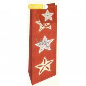 Nekupto Darčeková papierová taška na fľašu 33 x 10 x 9 cm červená s hviezdami Vianočné WLH