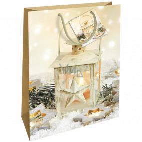 Nekupto Darčeková papierová taška 46 x 33 x 10,5 cm zlatá lampáš Vianočná WBXL 1957 01