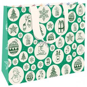 Nekupto Darčeková papierová taška s razbou 23 x 18 cm Vianočná zelená s vianočnými motívmi WLFM 1994