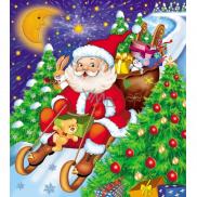 Press Igelitová taška 45 x 50 cm s uchom Santa Claus na saniach