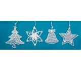 Háčkované vánoční ozdoby (zvonek, stromek, vločka, hvězda) 7 cm