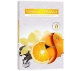 BISPOL Aura Vanilla Orange - Vanilka a pomaranč vonné čajové sviečky 6 kusov