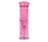Albi Láhevna na pitie s dvojitou stenou ružovej glitre 600 ml