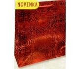 Nekupto Darčeková papierová taška strednej 23 x 18 x 10 cm Červená hologramová 121 30 THM