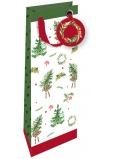 Nekupto Darčeková papierová taška na fľašu luxusné 33 x 13 cm Vianočný 1792 Wilh