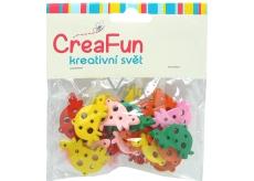 CreaFun Drevené prívesky Korytnačka mix farieb 3 x 2 cm 25 kusov