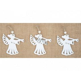 Anjel drevený závesný biely 7 cm 3 kusy