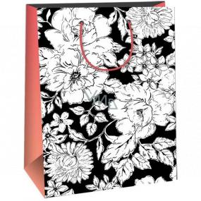 Ditipo Darčeková papierová taška 22 x 10 x 29 cm Kreativ čierna, biele kvety