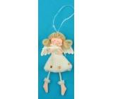 Anjel plyšový smotanový s nôžkami hviezda na zavesenie 14 cm
