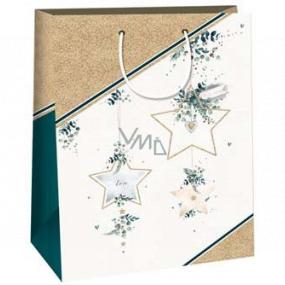 Ditipo Darčeková papierová taška 32,4 x 10,2 x 44,5 cm zlaté hviezdy DXA