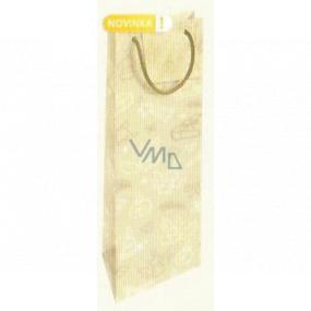 Nekupto Darčeková papierová taška na fľašu 33 x 10 x 9 cm Vianočný zlatá s potlačou WLH