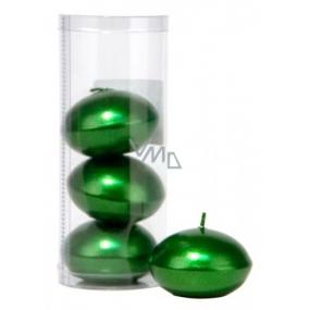 Sviečka plávajúce metal tmavo zelená v tubuse 50 x 120 mm 4 kusy
