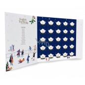 English Tea Shop Bio Vianočné noc Adventný kalendár v tvare knihy modrý, 25 kusov pyramídiek sypaných čajov, 13 príchutí, darčeková sada