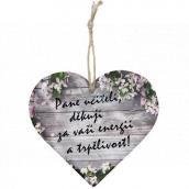 Bohemia Gifts Drevené dekoračné srdce s potlačou - Pán učiteľ, ďakujem 12 cm