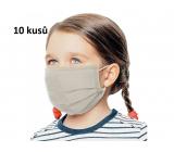 Rúška 3 vrstvová ochranná zdravotné netkaná jednorazová, nízky dýchací odpor pre deti 10 kusov béžová bez potlače