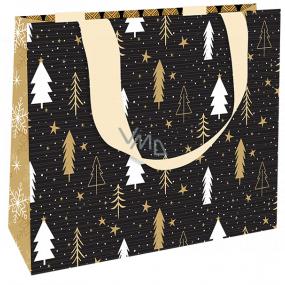 Nekupto Darčeková papierová taška luxusné 23 x 18 cm Vianočná čierna so stromčeky WLFM 1992