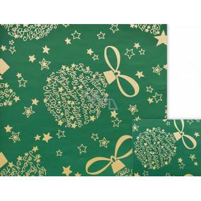 Nekupto Darčekový baliaci papier 70 x 200 cm Vianočný zelený zlaté nápisy, hviezdičky
