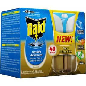 Raid Advanced elektrický odpařovač tekutý s automatickým časovačem proti komárům 40 nocí 33 ml