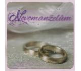Albi Blahoželanie do obálky 3D Novomanželom, strieborné svadobné prstienky, 15,5 x 15,5 cm