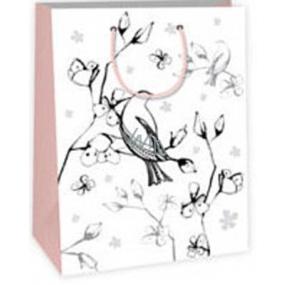 Ditipo Darčeková papierová taška k vymaľovanie 22 x 10 x 29 cm biela vtáčik kvetmi Kreativ 40