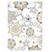 Ditipo Vánoční balicí papír bílý zlato-černé hvězdy 5 m x 70 cm