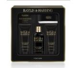 Baylis & Harding Čierne korenie a Ženšen 2v1 šampón a sprchový gél 300 ml + toaletné mydlo 150 g + sprchový gel 130 ml + balzam po holení 130 ml + pleťová žinka, kozmetická sada pre mužov