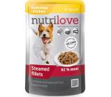 Nutrilove Dusené filetky so šťavnatým kuracím v omáčke kompletné krmivo pre psov kapsička 85 g