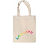 Látková taška na kamienky s farebným nápisom 22 x 26 cm