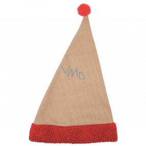 Mikulášska čiapka jutová s červeným lemom 47 cm
